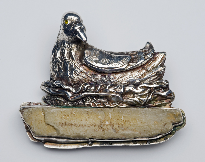 Nesting Bird -- brooch and pendant