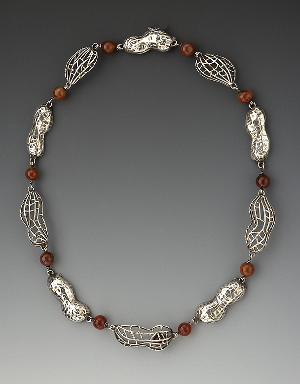 Peanut Necklace sterling silver, carnelian