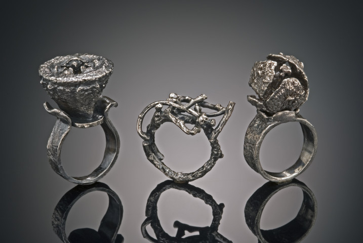 Set of 3 Organic Rings (Eucalyptus seed pod, branches, Cypress seed pod); each approx. 1-14 in. x 1 in.; Sterling silver; $300.00 each
