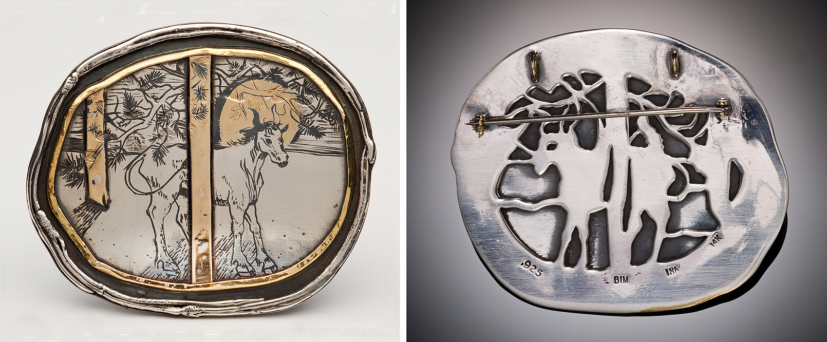 St. Mark as a Calf Brooch -- front and back SAF